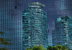 different reflections (christikren) Tags: toronto canada building architecture travel reflections spiegelung skyscrapers highrisebuilding metropole art design architektur world blue abstract shapes ontario light different linesandcurves thebestpicturesofreflections glassfassade geometrisch mirrored reflet