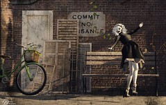 Commit No Nuisance - 12/2016 (IvoryBouscario) Tags: sl secondlife whimsy whimsical maniacal shadows female woman avatar mask lunatic mad crazy nutty crazed photo picture bicycle bench