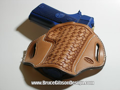 GIBSON NATURAL STAR BASKET 1911 COMMANDER (JBruceGibson) Tags: dowel site track mold molded replica blue gun prototype gibson bruce design 1911 commander 4 425 inch kimber colt springfield raw natural leather holster belt slide pancake concealed carry