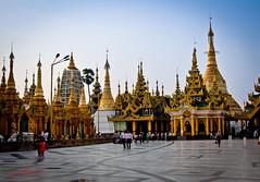 Shwedagon Pagoda Yangon, Burma (Explored 5th May 2012) (sydbad) Tags: travel blue sky people color art festival architecture clouds canon fun temple photography gold pagoda is photo worship asia shwedagon yangon burma l usm ef f4 plated 24105mm eos60d