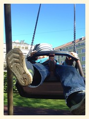 Out with Daddy (ronnyfaessler) Tags: fun schweiz switzerland bern sonne vater frühling draussen spielplatz iphone sohn bearbeitet ronnyfaessler ronnyfaesslerblogspotcom uploaded:by=flickrmobile flickriosapp:filter=nofilter
