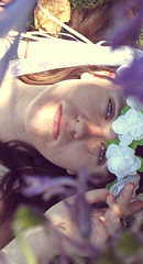 Through the flowers (~Natalie Hope~) Tags: flower girl beautiful purple crown brownhair flowercrown