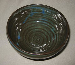 Storm bowl #2, inside (mikkashar) Tags: ceramic spiral carved waterdrop crafts bowl pottery lightning cloudrain darkstoneware madebymikkashar