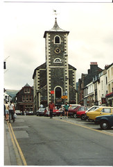 Keswick, Cumbria,   August 7th.1989 (Cynthia of Harborough) Tags: people streets cars architecture shops 1989 towns clocktowers