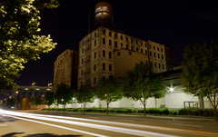 IMG_13682_Old Centennial Mill Water Tower (Terry Frederic) Tags: longexposure usa streets architecture night oregon buildings portland streetscene pearldistrict watertowers urbex naitoparkway centennialmills canoneos550d canont2i terryfrederic lightroom36processed