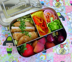 Chimichurri Pork LunchBots Bento (sherimiya ) Tags: school lunch pepper kid healthy strawberry cherries cucumber sheri delicious pork homemade meal carrot daikon bento trio pickled parsley loin obento donutpeach chimichurri sherimiya lunchbot