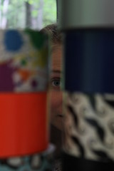 Through a Wall of Duct Tape (HelloImKatie) Tags: blue macro eye girl canon duct rebel focus tape blonde t3
