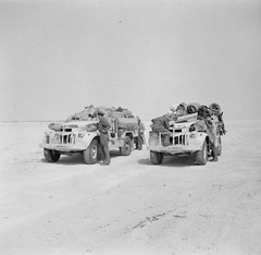 Two fully loaded LRDG ( Long Range Desert Group) Chevrolet 30cwt trucks, 25 May 1942.