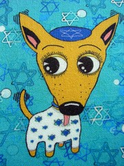 Happy Chihuanukkah! small scale close-up (sassyone2013) Tags: chihuahua david art dogs star holidays sewing chanukah fabric chihuahuas indie quilting jewish designs judaism yarmulke hanukkah judaic spoonflower yiddishe