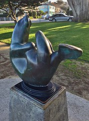 Life At The Top (ArtFan70) Tags: california ca sculpture usa art animal statue america unitedstates bell otter pacificgrove seaotter chrisbell lifeatthetop berwickpark seaotterandpup