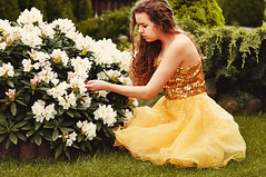 Calineczka (grzalczi) Tags: flowers white cute green nature girl yellow garden hair gold spring model day dress autoportrait princess little tales girly blossoms story fairy curly