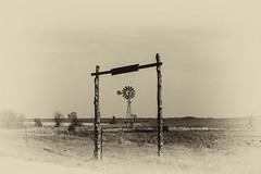 Gunbarrel Ranch (unknown quantity) Tags: trees sky windmill sepia fence landscape gate horizon pasture