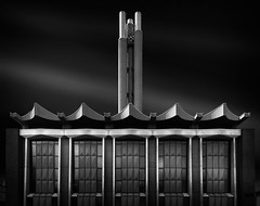 Mythmaker (blondmao) Tags: chimney blackandwhite bw building industry architecture facade switzerland basel heatingplant