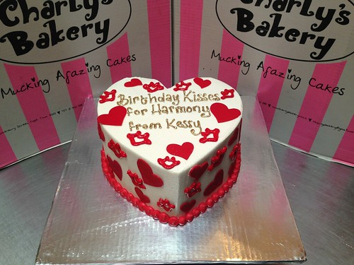 Heart Shaped Birthday Cake Iced In White Butter Icing With Fondant