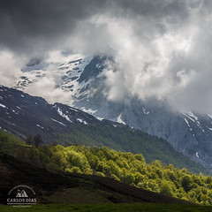Straight from inside (Carlos Dias | photography) Tags: lines landscape storm nature nationalpark pandebano rocks trees asturias spain snow square path top layers cloudy green clouds collado mountain picosdeeuropa