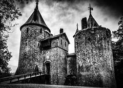 Castell Coch (ryanhooper1) Tags: castle ryan wales black white monochrome history historic moat bridge tower towers cymru cloud clouds epic medieval castell red coch