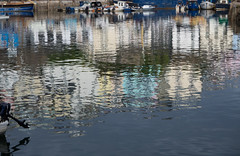 Falling in love (S's images) Tags: brixham harbour water reflections autumn light blue white abstract shapes