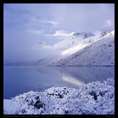 Morming of the Lower Rigancuo lake after snowing (derek*werner) Tags: rolleiflex rollei 35f planar tlr kodak e100vs expired epson gtx980 v850 film slide analog sichuan aba trekking outdoor camping qinghai