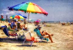 Colorful Umbrella, Myrtle Beach South Carolina (PhotosToArtByMike) Tags: myrtlebeach computerpainting digitalpainting umbrella beachumbrella southcarolina sc grandstrand atlanticcoast city vacationresort barrierisland atlanticocean horrycounty lowcountry