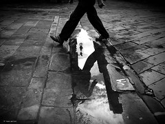 A  small step for a human being (Ren Mollet) Tags: street streetphotography step water puddle pool man renmollet penf people italy italien monchrom blackandwhite bw reflection sarzana