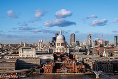 London from the top of the Switch house. (Dave Pearce (London)) Tags: switchhouse london river thames stpauls millennium bridge sky tate modern view urban canon 80d 18135 clouds buildings skyline