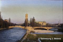1970 Corneliusbrcke Deutsches Museum und Isar copy (Pacific11) Tags: mnchen munich 1970 1971 vintage alt selten bilder bayern isar deutsches museum
