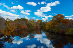 Reflection (E. Aguedo) Tags: trees forest autumn fall reflection pawtuxet river clouds sky blue foliage leaves colors warwick ngc new england