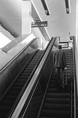 Aufschwung (Mugelone) Tags: mnster bahnhof blackwhite ishootfilm kodaktrix canonfd canonfd50112l canonf1new rolltreppe street anzug mann suit koffer