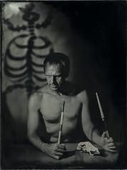 The Drummer (mmeshka) Tags: alternative alternativephotography ambrotype blackandwhite collodion epsonv600 fkd18x24 industar37 largeformat tintype wet plate wetcollodion portrait people indoor drummer