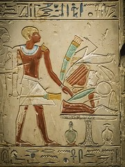 Closeup of Stele depicting the deceased with an offering table laden with food Abydos, Egypt Middle Kingdom 12th Dynasty 1970-1950 BCE Limestone (mharrsch) Tags: stele relief engraving tomb death burial offeringtable food feast banquet kilt ancient egypt abydos middlekingdom 12thdynasty 20thcenturybce nelsonatkinsmuseum kansascity missouri mharrsch funeraryart hieroglyph