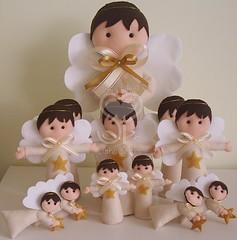 Anjos para batizados (Sue Paula) Tags: anjos batizado feltro enfeitedefesta