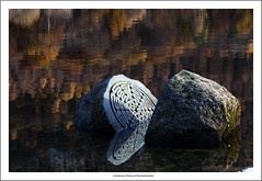 Centenary Stone Reflections Frame (bullboy1983) Tags: autumn reflections water still calm lake lakedistrict cumbria stone centenary centenarystone derwentwater keswick