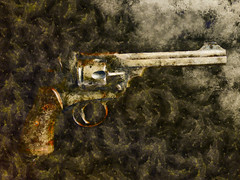 Disposing of the Murder Weapon (Steve Taylor (Photography)) Tags: art digital brown black grey metal newzealand nz southisland canterbury christchurch city cbd gun revolver pistol mud
