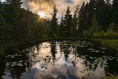 Yew lake sunset (zxorg) Tags: yewlake cypressmountain vancouverbc sunset reflectioninthewater waterreflection mountainlake