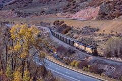 Descending Wanship Canyon between lanes of I-80, October 5, 1985 (blair.kooistra) Tags: unionpacific gp30 parkcity webercanyon ogden echo utah utahrailroads branchlinerailroads