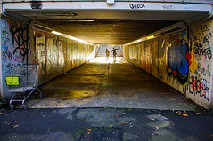 Trollied Pt2 (Brian Travelling) Tags: trollied shoppingtrolley underpass subway footpath urban people street glasgow