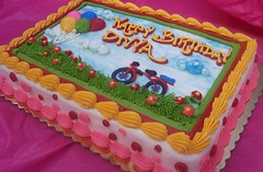 Summer Day Cake (Ashley's Pastry Shop) Tags: birthday pink red summer girl bike yellow kids balloons birthdaycake dots sheetcake kidscake
