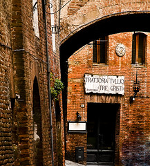 A little corner of Siena (DWImages-Daniela White) Tags: old travel red italy restaurant holidays bricks lane siena pleasedonotusewithoutmypermission nikond300s danielawhiteimages