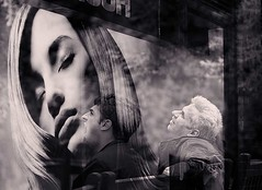 admiration (White_V) Tags: street man men london girl canon bench looking doubleexposure advert 2012 admiration