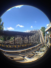 Tomahawk (CoasterMadMatt) Tags: park wood parque espaa fish eye primavera port de lens photography amusement wooden spring spain foto distorted photos may fisheye roller mayo rollercoaster montaa coaster themepark aventura espaol fisheyelens atracciones iphone fotografa tomahawk fotografas portaventura rusa montaarusa parquetemtico 2013 coastermadmatt uploaded:by=flickrmobile flickriosapp:filter=nofilter