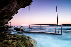 North Bondi Bridge (sebr) Tags: ocean longexposure bridge pink sunset sea beach water bondi rock moss twilight rocks purple dusk rocky railing northbondi