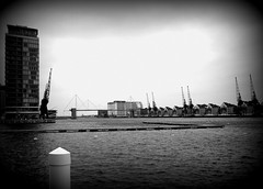 Emirates Air Line Royal Victoria Dock (chrisbell50000) Tags: bw white black london car holga dock air royal cable victoria line emirates airline cablecar gondola chrisbellphotocom