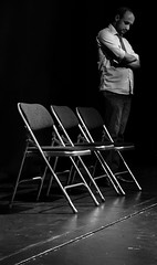 No Show (Pixelglo Photography) Tags: blackandwhite bw man blackwhite chair fuji shadows chairs theatre stage thinking showmustgoon x20 cancelled theatrestage chairshadow fujix20