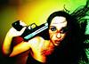 Over Powered Slow Devour (jna.rose) Tags: portrait selfportrait female contrast self hair gun portraiture conceptual selfie nikond80