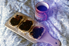 film (La fille renne) Tags: food film cup coffee breakfast analog 35mm tea sheets expired canonae1program expiredfilm marmelade 50mmf18 fujisuperia200