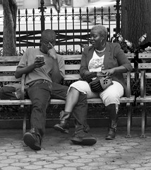 clingy (crashcart) Tags: street nyc newyorkcity blackandwhite bw 35mm candid strangers streetphotography