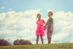 (Rebecca812) Tags: family trees boy summer portrait people cute love nature girl smile grass childhood children fun togetherness twins sweet candid happiness bluesky hero bond conversation holdinghands braids enjoyment connection puffyclouds reallife communicate lowangle canon5dmarkii rebecca812
