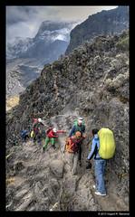 The Breakfast/Barranco Wall - Mt. Kilimanjaro (vegarste) Tags: africa people mountain kilimanjaro wall breakfast landscape tanzania nikon route backpack hikers hdr barranco machame d90