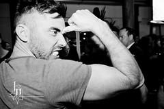 next stop exodus (badjonni) Tags: party bw guy pose beard fun arm muscle
