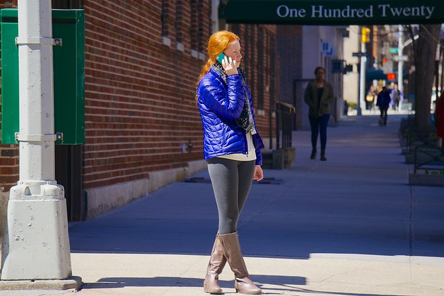 newyork scarf boots manhattan cellphone tights redhead talking uppereastside parka crossedlegs iphone streetsofnewyork everyblock skiparka
